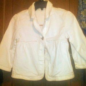 Gap Kids White Denim Pea Coat Jacket